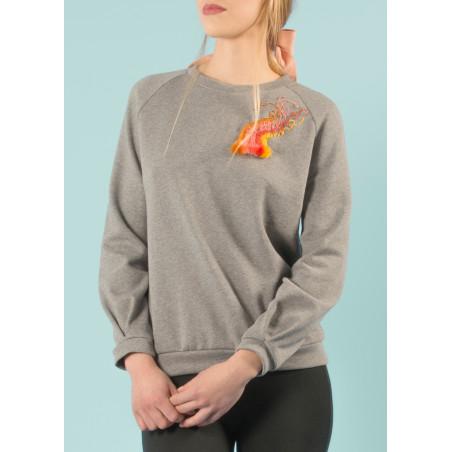 Sweat-shirt Ondine brodé arc-en-ciel en coton bio