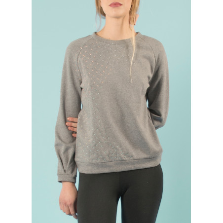 Big wave embroidered organic sweat jumper Ondine