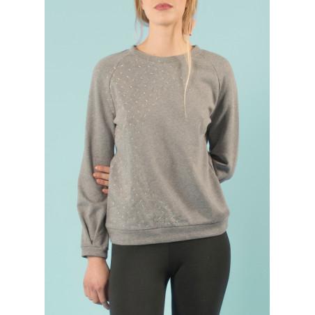 Sweat-shirt Ondine brodé vague pastel en coton bio