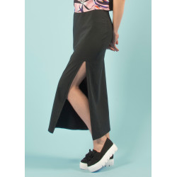 Long split organic black skirt Alizée
