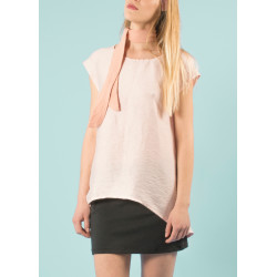 Millennial pink Boheme blouse in linen and bamboo