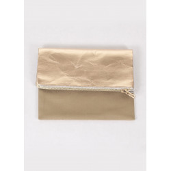 Pouch in beige canvas and pink gold vegan leather