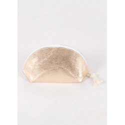 Half-moon purse in pink gold vegan leather