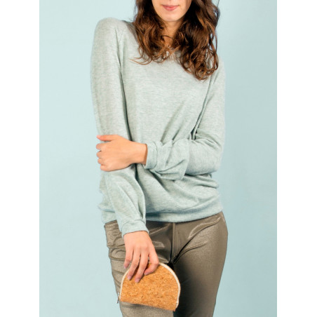 Vegan jumper Ondine in storm heather blue bamboo