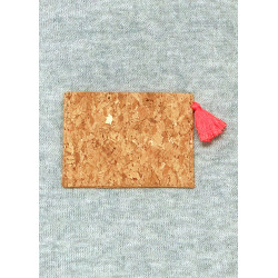 Minimalist card holder in gold cork vegan leather