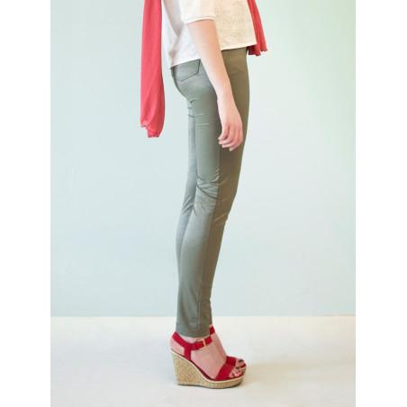 Pantalon treggin Julie kaki argenté