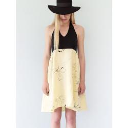 Robe dos nu en lin Bahia à motif fleuri jaune et noir