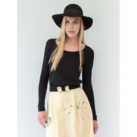 Black organic cotton jersey Sylvia top