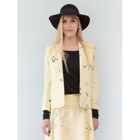 Yellow flowery linen Ines short jacket
