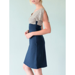 Split sleeves Alicia dress in navy and ecru graphic print