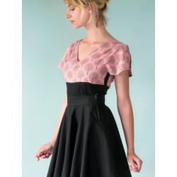 Split sleeves Alicia top in pink and black poetry print