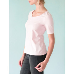 Pale pink organic cotton jersey Sylvia top