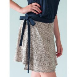 Graphic blue print wrap Lorelei bamboo skirt