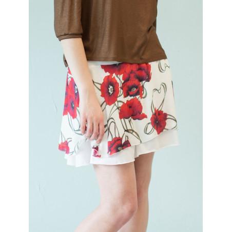 Poppy red flowery bamboo Carmen short skirt