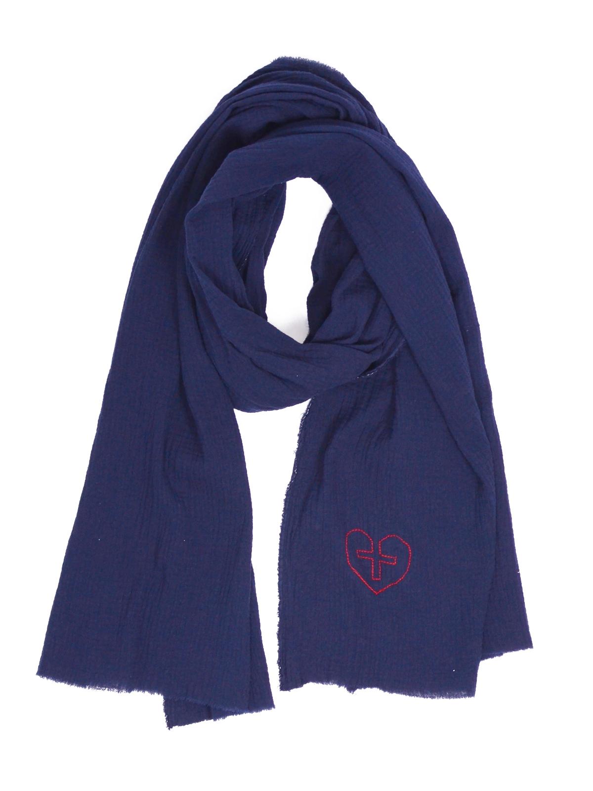 plus grand choix de 2019 mieux aimé codes promo Chèche brodé bleu marine en coton bio foulard vegan made in ...