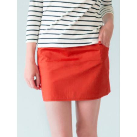 Umi organic tangerine red mini skirt