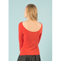 Lula organic tangerine red open-back top