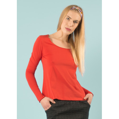 Tangerine red organic cotton jersey Sylvia top