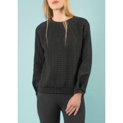Sweat-shirt Ondine matelassé 3D en coton bio noir