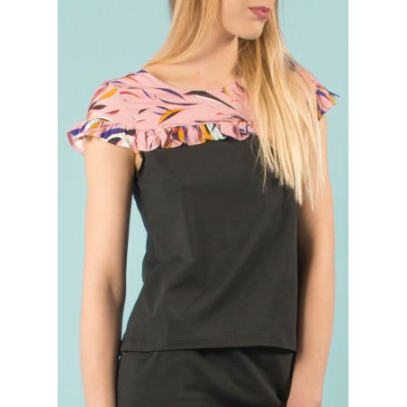 Oceane organic flounced top in pink black Vogue print