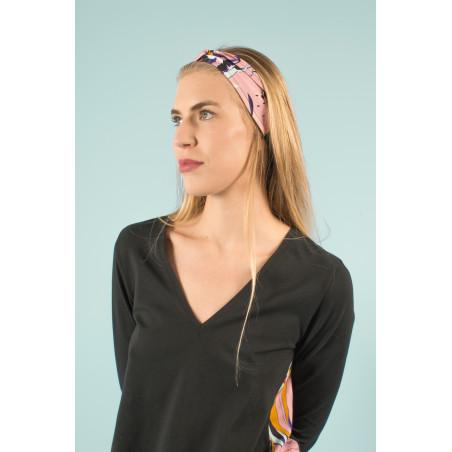 Organic pink turban headband with Vogue print