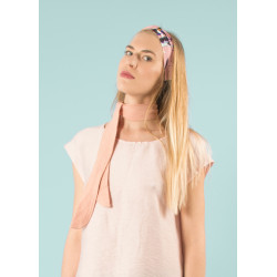 Foulard choker rose pastel transformable