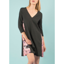 Robe bio May col V rose et noir imprimé Vogue