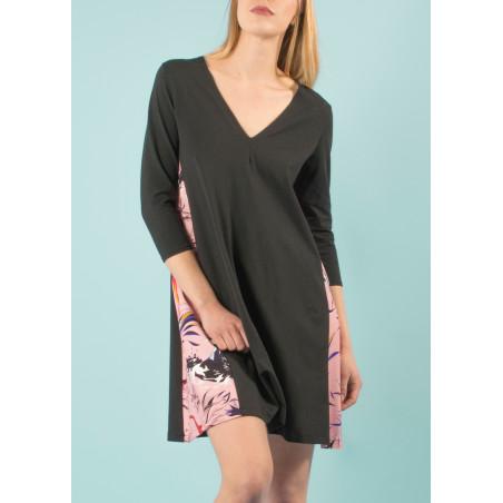 Organic Ondine dress pink and black Vogue print