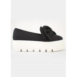 Chaussures plateforme vegan noires à noeud