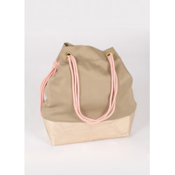 Bucket bag in beige canvas and pink gold vegan leather