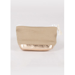 Porte monnaie en toile et cuir vegan beige et or rose