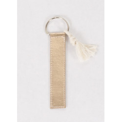 Pompom keyring in pink gold vegan leather