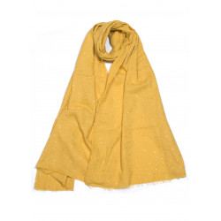 Mustard vegan scarf with golden dots in organic cotton