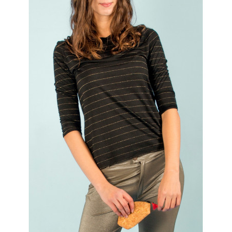 Uhaïna organic black and gold striped top