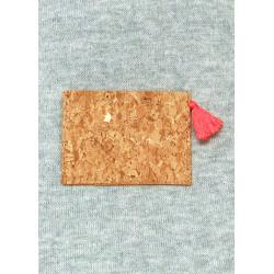 Porte-carte minimaliste en liège doré à pompon
