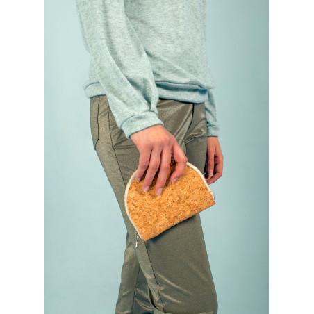 Half moon purse in gold cork vegan leather