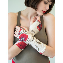 Poppy red flowery bamboo fingerless gloves