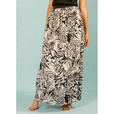 Long fluid skirt Bohemian with Jungle print