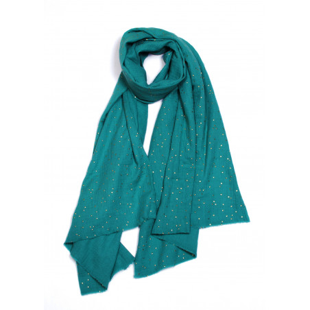 Petrol blue vegan scarf with golden dots in organic cotton