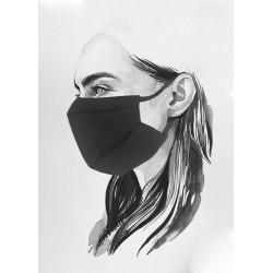 Masque en tissu alternatif en coton bio noir UNS1 à plis