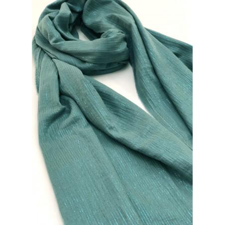 Chèche brume à rayures brillantes turquoise en coton certifié