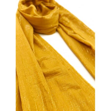 Chèche moutarde doré à rayures en coton certifié Oeko-Tex