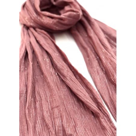 Chèche lilas poudré à rayures or rose en coton certifié Oeko-Tex