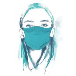 Masque en tissu alternatif en coton bio uni bleu UNS1