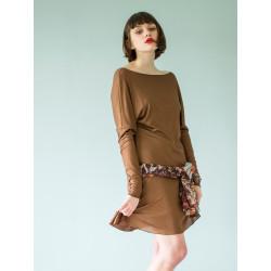 Organic shiny brown Athena dress