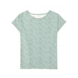 Top en coton certifié Vert Brume à motif brindilles Aurore