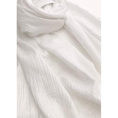 Chèche blanc à rayures argent en coton certifié Oeko-Tex