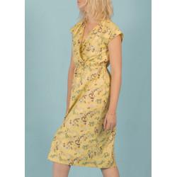 Robe cache coeur en coton bio jaune motif floral Céleste