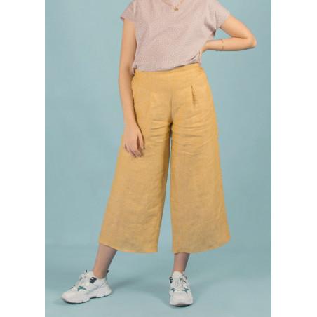 Pantalon ample 7/8 en lin Céleste jaune moutarde