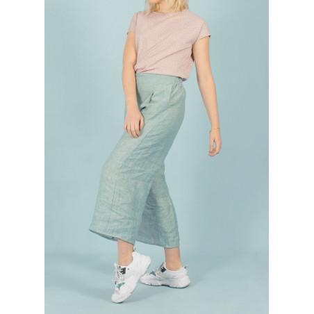 Pantalon ample 7/8 en lin Céleste bleu céladon